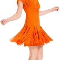 Short Sleeved Fringed Sweater Dress by Leon Max | Max Studio Official