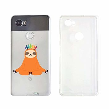 Cute Yoga Sloth Folivora Transparent Silicone Plastic Phone Case for Google Pixel 2 Google Phone (5.74 x 2.74 x 0.31 in)_ SUPERTRAMPshop (VAS1450)