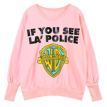 If You See LA' Police Sweatshirt Hoodie - Pink - One Size