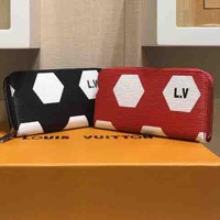 Louis Vuitton Men And Women World Cup Football Print Black White Red Print Rectangular Black Red
