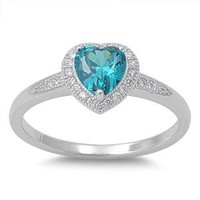 New Arrival Fashion Love Promise Blue Cz Cz Heart .925 Sterling Silver Ring Size 6