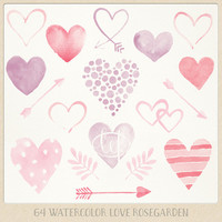 "Valentine Watercolor clipart hearts arrows pink purple red ""rose garden"". watercolour clip art graphics for cards, printables wall art etc"