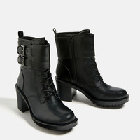 LEATHER HIGH HEEL BIKER ANKLE BOOTS DETAILS