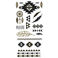 Metallic Aztec Temporary Tattoos Gold Combo One Size For Women 25396707901