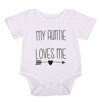 2017 Baby Summer Romper Short Sleeve Auntie Loves Me Letter Printed Newborn Baby Boy Girl Jumpsuit One Pieces Clothes 0-18M