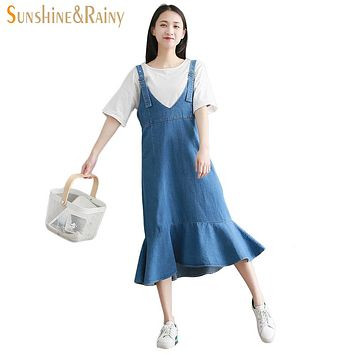INS Summer Student New Loose Denim Vest Sling Dress Women College Small Fresh Sleeveless Trumpet Dress Solid Color Fashion Dress