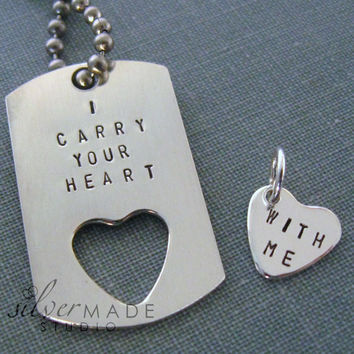 I carry your heart  PETITE dog tag and sterling silver heart charm