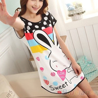 Fashion Cartoon Women's Polka Dot Sleepwear Pajamas Short Sleeve Sleepshirt, soft , sleep dress = 1931416004