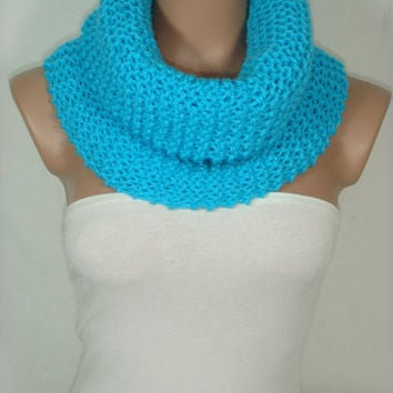 NEW - Knitted, Hooded Cowl, Scarf, Neck warmer,Loop Scarf (Turquoise) by Arzu's Style