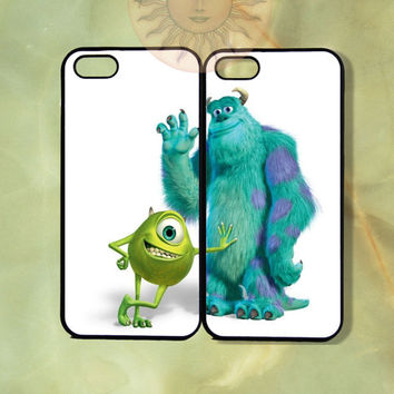 Sulley and Mike Monsters Inc Couple Case-iPhone 5, 5s 4s, iphone 4 case, ipod 5, Samsung GS3, GS4-Silicone or Hard Plastic Case, Phone cover