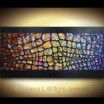 Abstract Painting - Original Large Canvas Multicolored Modern Textured Painting by Susanna 48x24 MADE2ORDER