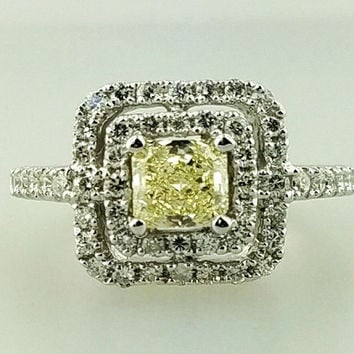 1.33 CTW GIA Certified Radiant Cut Natural Fancy Yellow Diamond Halo Ring