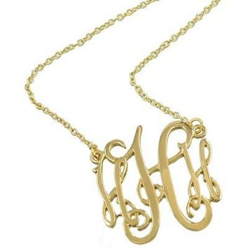 *[N/L]-Monogram Necklace ~H~ Goldtone Finish