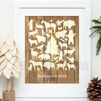 Woodland Nursery Decor, Woodland Animals Guest Book, Woodland Baby Shower or Birthday, Animal Print, Woodland Wedding, Guestbook Alternative