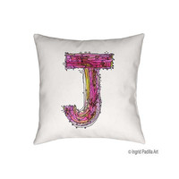 Whimsical, Letter, J, Pillow, Decorative, monogram pillow, Illustration, funky, typography, Alphabet, Art, Printed fabric, Ingrid Padilla
