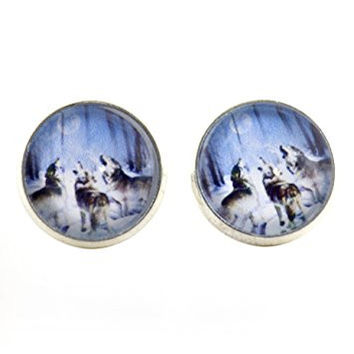 Three Wolves Howling Stud Earrings Silver Tone EK28 Wolf Pack Wildlife Art Posts Fashion Jewelry