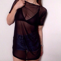Oversized black mesh t-shirt