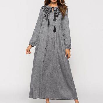 Women Floral Embroidery Grey Maxi Dress Long Sleeves Losse Casual Long Dress Spring Autumn Vintage Pleated Patchwork Muslim Dres