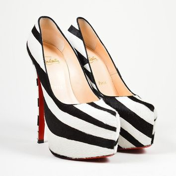 DCCK Black and White Christian Louboutin Pony Hair Zebra Print   Daffodile 160   Pumps