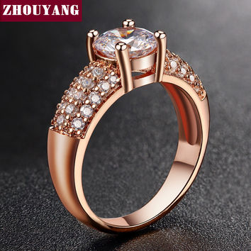 Micropave Setting 7mm 4 claws 1.5ct AAA+ CZ Diamond Wedding Ring 18K Real Rose Gold/Platinum Plated Luxury Jewelry Women ZYR105