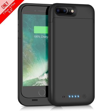 iPhone 7 Plus 8 Plus Battery Case 7000mAh Capacity, Gixvdcu Extended Battery Power Charger for iPhone 7Plus 8 Plus (5.5inch) 4 LED Indication Ultra Slim Portable Charging Cover – Black
