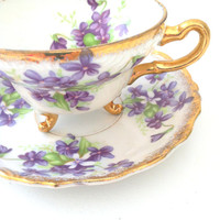 Antique Footed Tea Cup and Saucer Cottage Style Decor Shabby Chic Downton Abbey Inspired