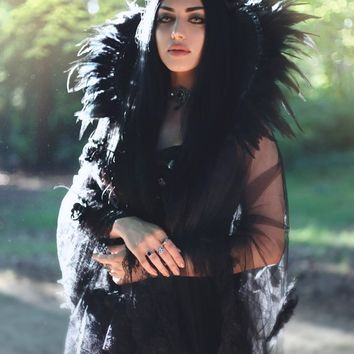 Black  Swan feather  and  lace gothic collar- gothic collar-Vampire collar-WGT-Halloween-collar-Black swan costume