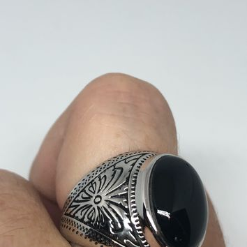 Vintage Celtic Genuine Black Onyx 925 Sterling Silver Statement Ring