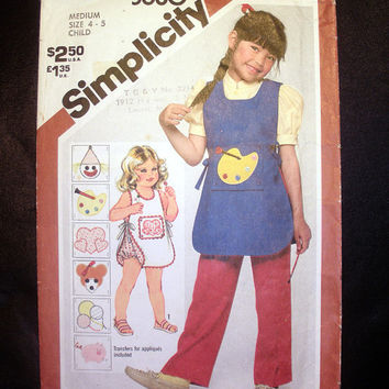 Child's Lined Apron and Sundress with Panties Size 4 - 5 Medium Vintage Simplicity 5680 Sewing Pattern
