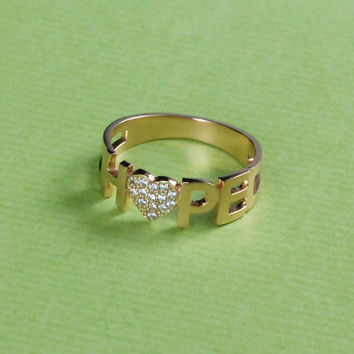 Tiny Ring - Adjustable Ring - Name Ring - Crystal Stones -  18K Gold Plated