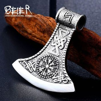 Beier Stainless steel thor's hammer mjolnir pendant necklace viking scandinavian norse man punk rock Vintage jewelryBP8-272