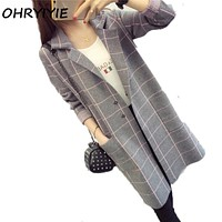 OHRYIYIE  Long Cardigan Women Sweater  Autumn Winter Long Sleeve Knitted Plaid Cardigans Female Tricot Tops