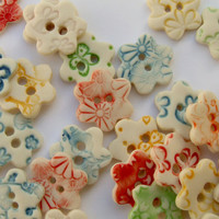 Porcelain Flower Shaped Buttons