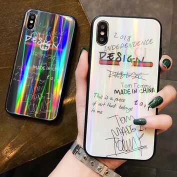 GUCCI Trending Stylish Laser Graffiti Series Glass iPhone Cover Case For iPhone X 8 8 Plus 7 7 Plus 6 6 Plus White I13087-1