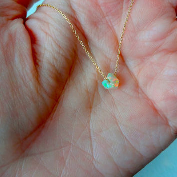 Rough Opal Micro Pendant and 925 Sterling Silver or 14k Gold Fill Chain Necklace