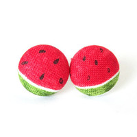 Watermelon stud earrings - summer fabric earrings - fruit button earrings - kawaii cute white red green black