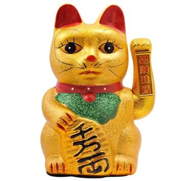 Waving Ceramic Lucky Cat Statue