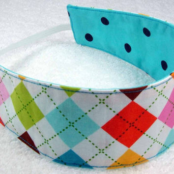 Children reversible headband in Argyle Robert Kaufman and blue black dots - Fabric Kid Toddler Child - Bandeau réversible - Ready to ship