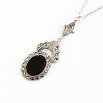 Vintage Art Deco Sterling Silver Simulated Black Onyx & Marcasite Pendant Necklace - 1920s Paperclip Chain Black Glass Lavalier Jewelry