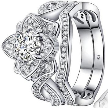 Flower 2.4 Ct Round White AAA Cz 925 Sterling Silver Wedding Engagement Ring Sets
