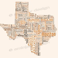 Texas Type Map Art Print - 13 x 19""
