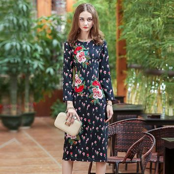 2017 European Summer Full Sleeve Embroidery Print Floral Dress High Quality Pretty Mid-Calf Length Slim Cute Dress