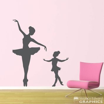 Big Ballerina Little Ballerina Decal Set - Girl Bedroom Decor - Dancing Wall Sticker - Ballet Wall Art