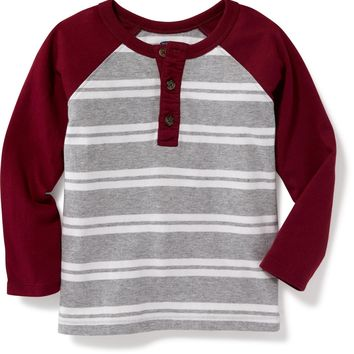 Striped Raglan-Sleeve Henley for Toddler Boys | Old Navy