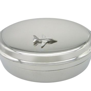 Silver Toned Hawk Plane Pendant Oval Trinket Jewelry Box