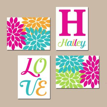 Baby Girl Nursery Art, Flower Nursery Wall Art, Girl Monogram Art, Colorful Bedroom Pictures, Love Sign, Set of 4 Canvas or Prints Pictures