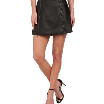 BCBGMAXAZRIA Myra Woven Skirt Faux Leather