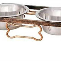 Rustic Bone Diner Raised Bowls for Dogs, Aged Copper Set