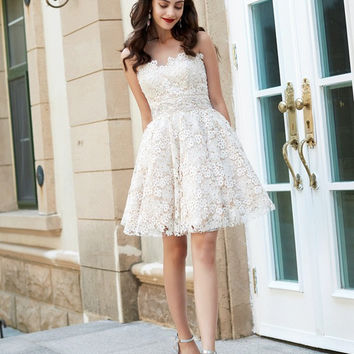 A Line Sweetheart Lace Homecoming Dress Short Lace Dresses
