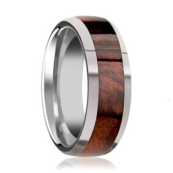 Tungsten Wood Ring - Redwood Inlay - Tungsten Wedding Band - Polished Finish - 8mm - Tungsten Carbide Wedding Ring